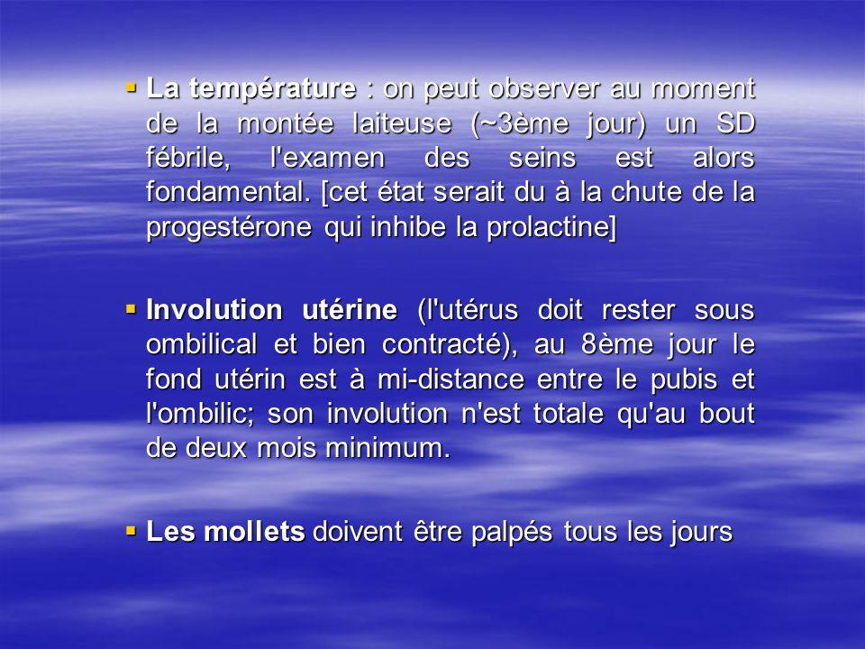 La température : on peut observer au moment de la montée laiteuse (~3ème jour) un SD fébrile, l examen des seins est alors fondamental. [cet état serait du à la chute de la progestérone qui inhibe la prolactine]